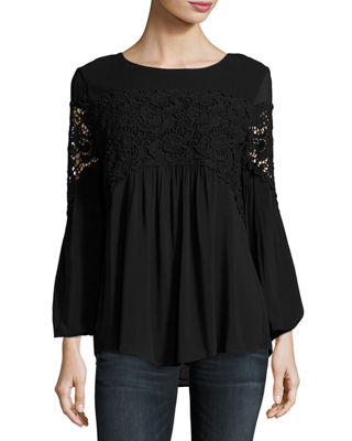 XCVI Aubree Floral-Crochet Top, Plus Size in Black