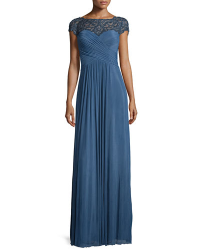 La Femme Cap-Sleeve Beaded Lace-Trim Chiffon Gown