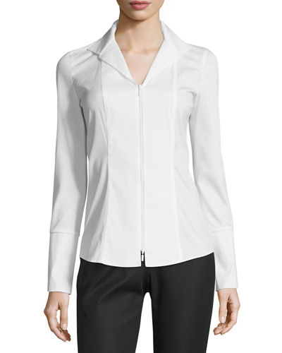 Aiden Jersey-Combo Long-Sleeve Zip-Front Blouse, Plus Size