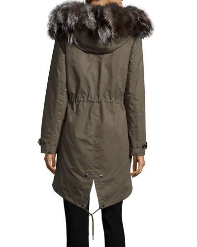 Literary Fur-Trim Cotton Parka Coat