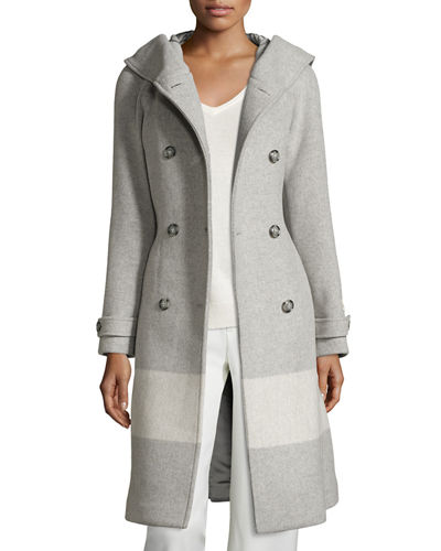 Monica Hooded Belted Wool-Blend Coat