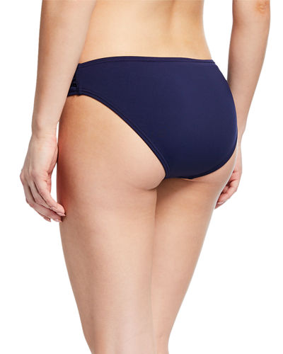 Pearl Shirred-Side Solid Hipster Swim Bikini Bottom