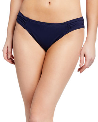 Image 1 of 3: Pearl Shirred-Side Solid Hipster Swim Bottom