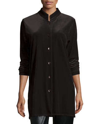 Image 1 of 5: Mandarin-Collar Velvet Shirt, Plus Size