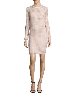 T by Alexander Wang Long-Sleeve Jacquard Eyelet Mini