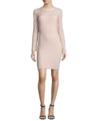 Long-Sleeve Jacquard Eyelet Mini Dress