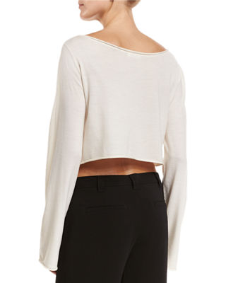 Image 2 of 2: Leandra Raw-Edge Cropped Sweater