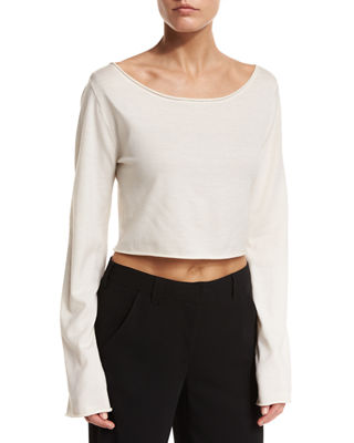 Image 1 of 2: Leandra Raw-Edge Cropped Sweater