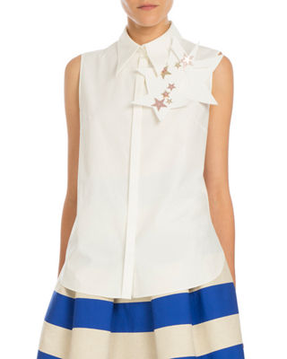 Delpozo Star-Pin Sleeveless Blouse
