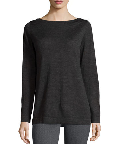 Eileen Fisher Boat-Neck Merino Wool Jersey Top