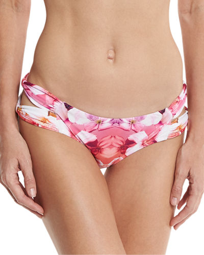 Soho Floral-Print Strappy Swim Bikini Bottom