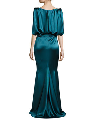 Image 2 of 2: Lobata Draped-Sleeve Ruched Gown