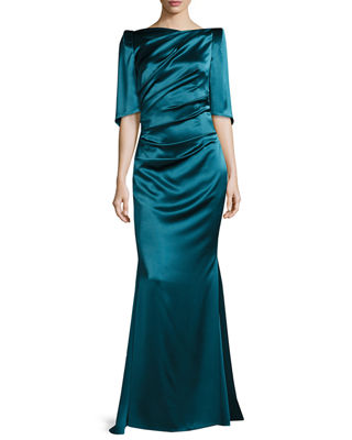 Image 1 of 2: Lobata Draped-Sleeve Ruched Gown