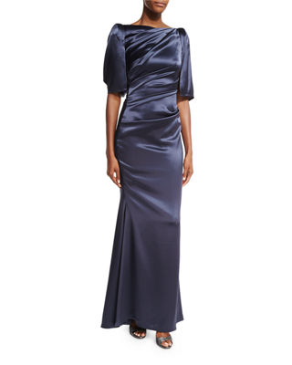Lobata Draped-Sleeve Ruched Gown