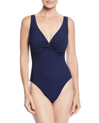 KARLA COLLETTO Twist Underwire One-Piece Swimsuit (D+ Cup) in Navy