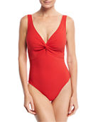 Karla Colletto Twist Underwire One-Piece Swimsuit (D+ Cup)