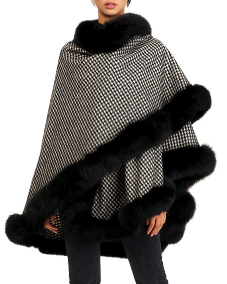 Gorski Fox-Trim Cashmere Cape