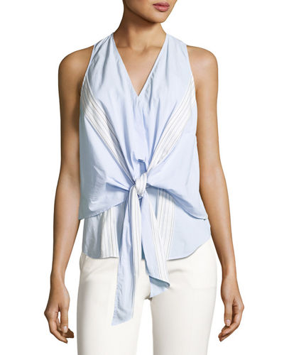 Derek Lam 10 Crosby Sleeveless Poplin Wrap Top
