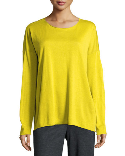 Eileen Fisher Long-Sleeve Fine-Gauge Knit Top & Wide-Leg