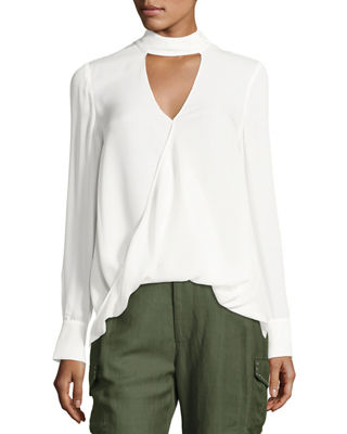 Derek Lam 10 Crosby Long-Sleeve Draped Silk Charmeuse