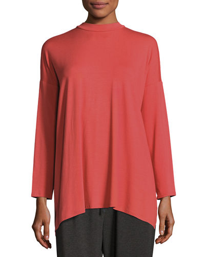 Mock-Neck Jersey Tunic