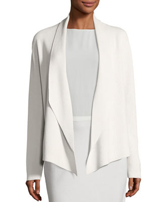 Eileen Fisher Shawl-Collar Draped Knit Jacket, Sleeveless Silk