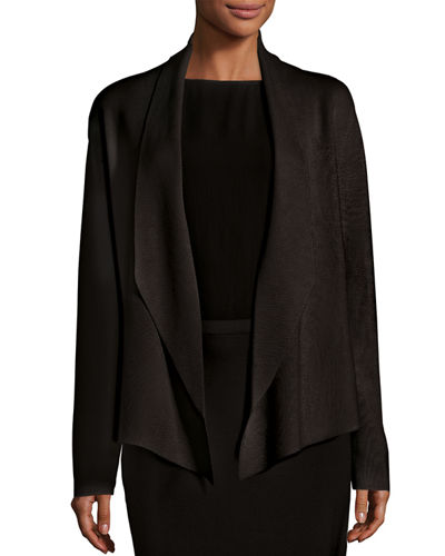 Shawl-Collar Draped Knit Jacket, Plus Size