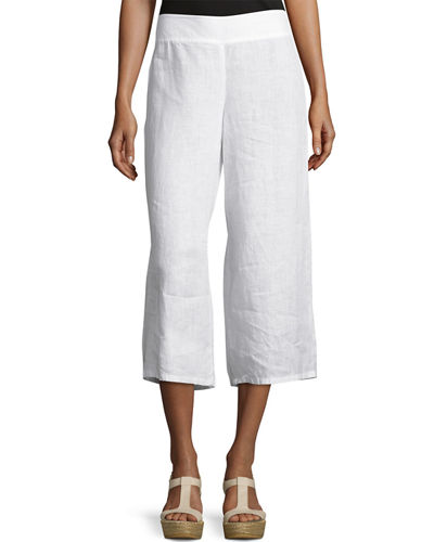Eileen Fisher Linen Cropped Wide-Leg Pants