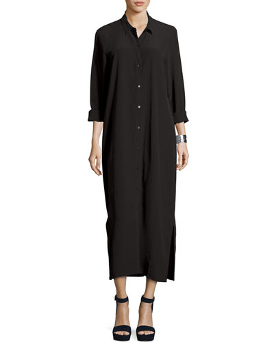 Eileen Fisher Crinkled Crepe Maxi Shirtdress
