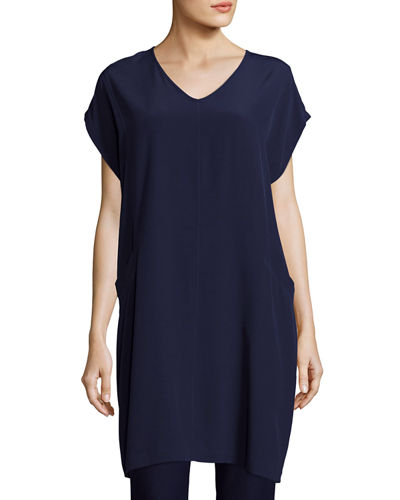 Eileen Fisher Short Sleeve Crinkle Crepe Tunic, Petite