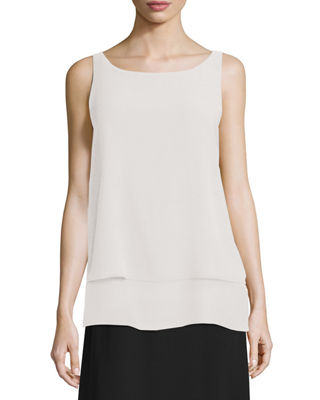 Eileen Fisher Ballet-Neck Layered-Hem Shell