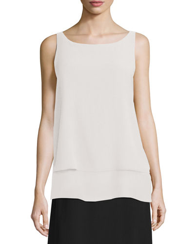 Eileen Fisher Ballet-Neck Layered-Hem Shell & Washable