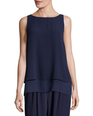 Eileen Fisher Georgette Shell w/ Layered Hem