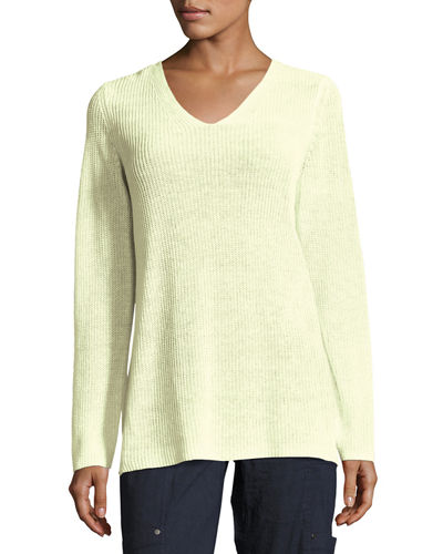 Eileen Fisher Long-Sleeve Organic Linen V-Neck Top, Petite