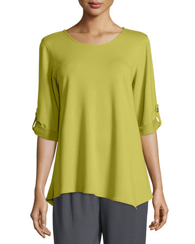 Caroline Rose Bamboo-Rayon Terry Tabbed-Sleeve Top & Ankle