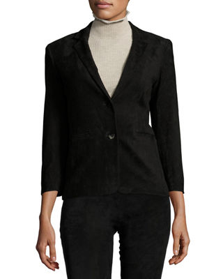 THE ROW Nolbon Suede Two-Button Jacket