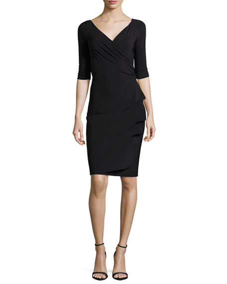Chiara Boni La Petite Robe Florien 3/4-Sleeve Jersey Faux-Wrap Dress
