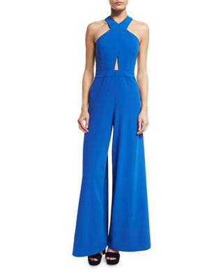 Alice + Olivia Trinity Cross-Front Wide-Leg Jumpsuit