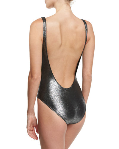 Marie France Van Damme Rafia Metallic Scoop-Back Classic One-Piece Swimsuit