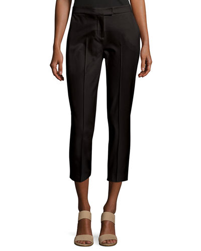 Stretch-Cotton Cropped Pants, Petite