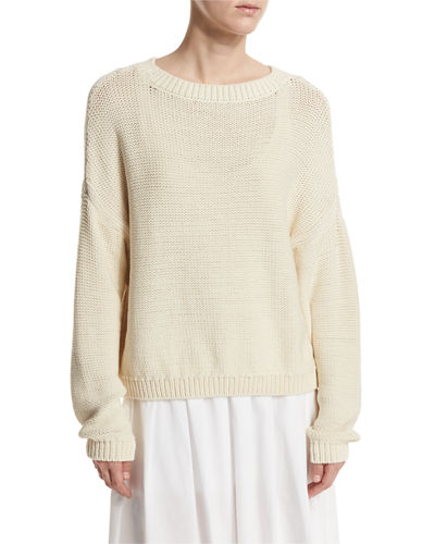 Vince Open-Knit Drop-Shoulder Pullover Sweater