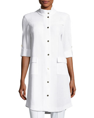 Misook Stand-Collar Utility Jacket w/ Gold Snaps, White,
