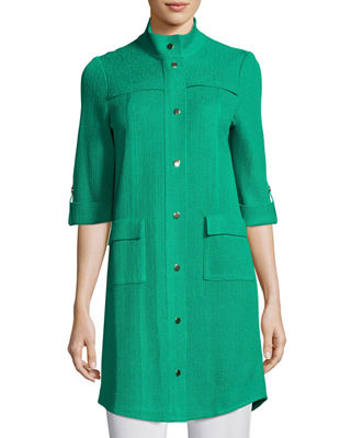 Misook Stand-Collar Utility Jacket w/ Gold Snaps, Petite
