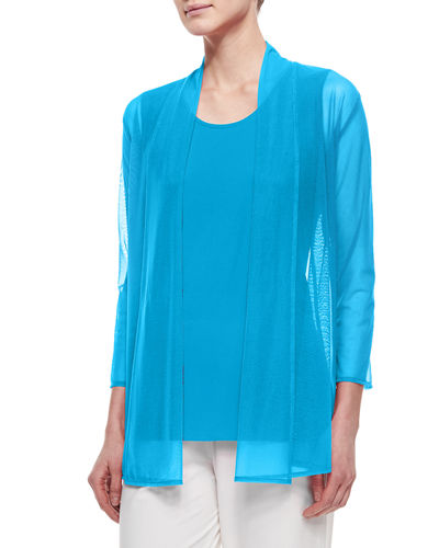 3/4-Sleeve Illusion Sheer Cardigan