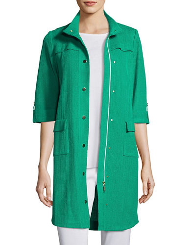 Misook Stand-Collar Utility Jacket & Pants, Plus Size
