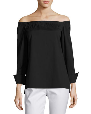 Lafayette 148 New York Off-the-Shoulder Stretch-Cotton Blouse