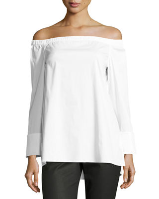 Image 1 of 2: Off-the-Shoulder Stretch-Cotton Blouse