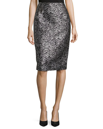 Zebra Jacquard Pencil Skirt