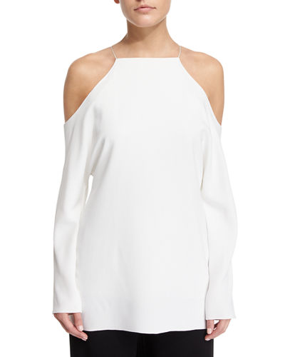 THE ROW Krauss Long-Sleeve Cold-Shoulder Top