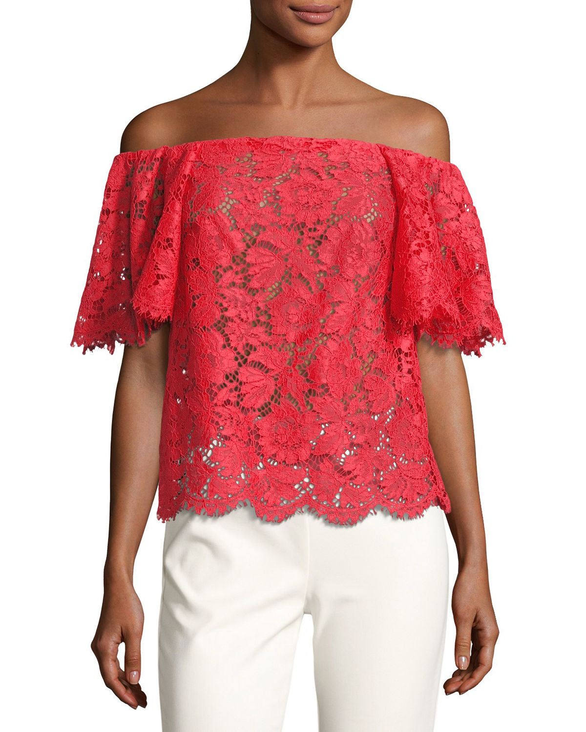 OFF SHOULDER HEAVY LACE BLOU